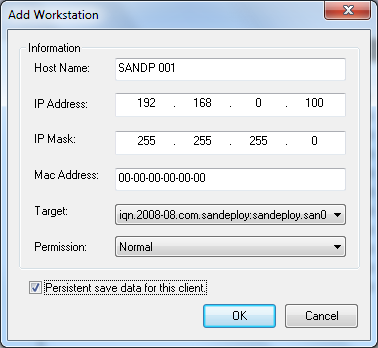SANDeploy Add Workstation