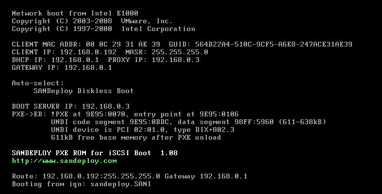 sandeploy iscsi boot windows 7 diskless booting