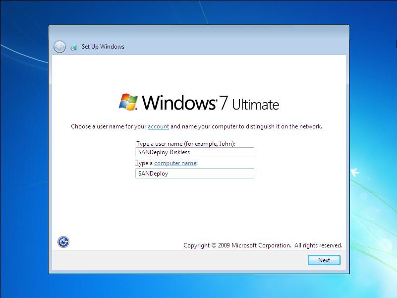 SANDeploy iSCSI Boot - Install Windows 7 on to iSCSI SAN